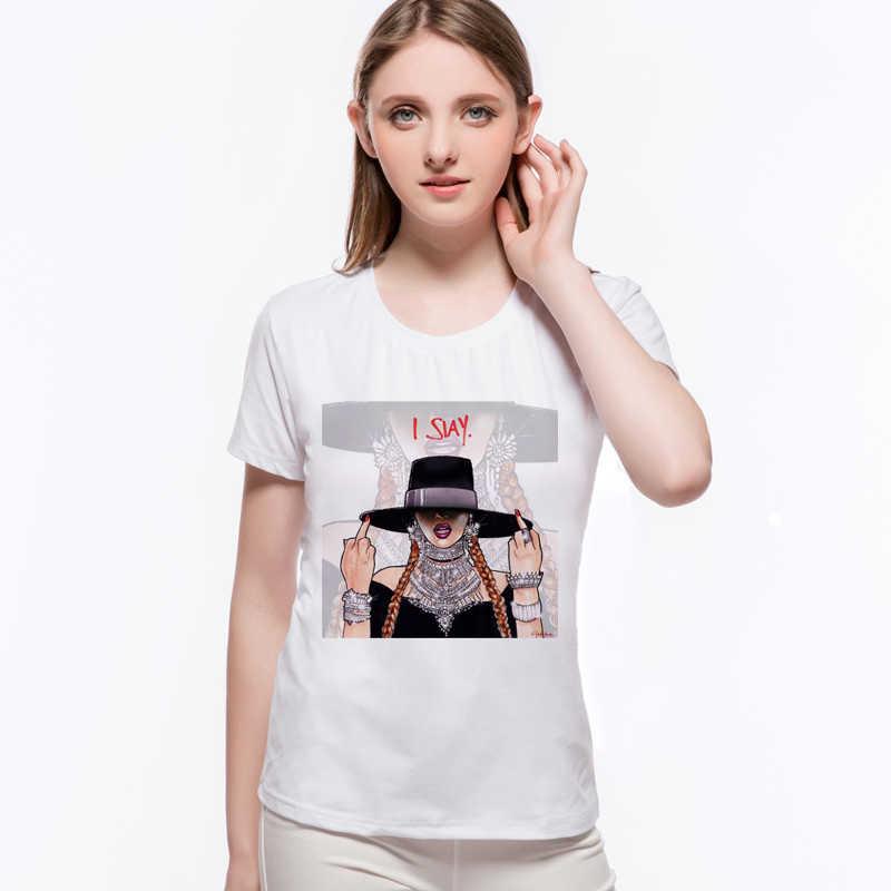Moda Beyonce śmieszne druku T koszula bawełniana na co dzień marki śmieszne Tee kobiety z krótkim rękawem Femme Camisetas Mujer L9-G51