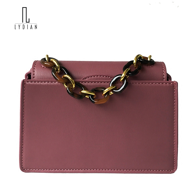 LYDIAN Mini Small Bag 2018 New European American Acrylic Handle Chain Portable Handbags Women Shoulder Vintage Messenger Bag lydian velvet trunk bag 2018 winter new ostrich feather handbags tassel small women bag pink kiss lock shoulder messenger clutch