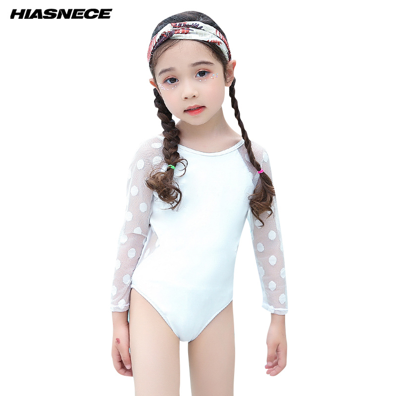 Girls Swimwear Lace Long <font><b>Sleeve</b></font> <font><b>One</b></font> Piece <font><b>Swimsuit</b></font> <font><b>Black</b></font> <font><b>White</b></font> 2018 Newest Lovely Kids Girl children Bathing suit beachwear 1-10
