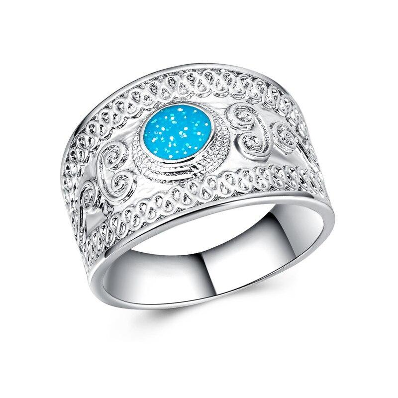 2018 novo azul opala masculino anéis étnicos de prata ampla casamento noivado casal anéis anel anel inglaterra jóias modelo transporte da gota b1433