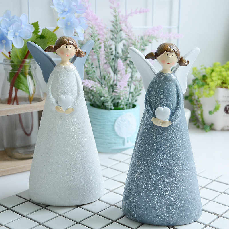 2PCS Nordic Angel Decoration Creative Home Decoration Resin Crafts Cute Angel Living Room Bedroom Room Decoration