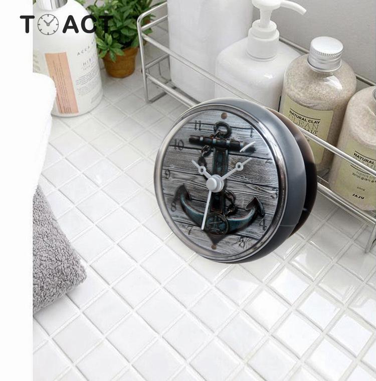 Mediterranean Retro 3D Anchor Bathroom Clock Bathroom Kitchen Sucker Wall Clocks Supplies Adsorption Wall Watch Home Decor