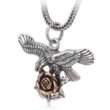925 стерлингового серебра ювелирные изделия Роза и орел унисекс подвеска(FGL