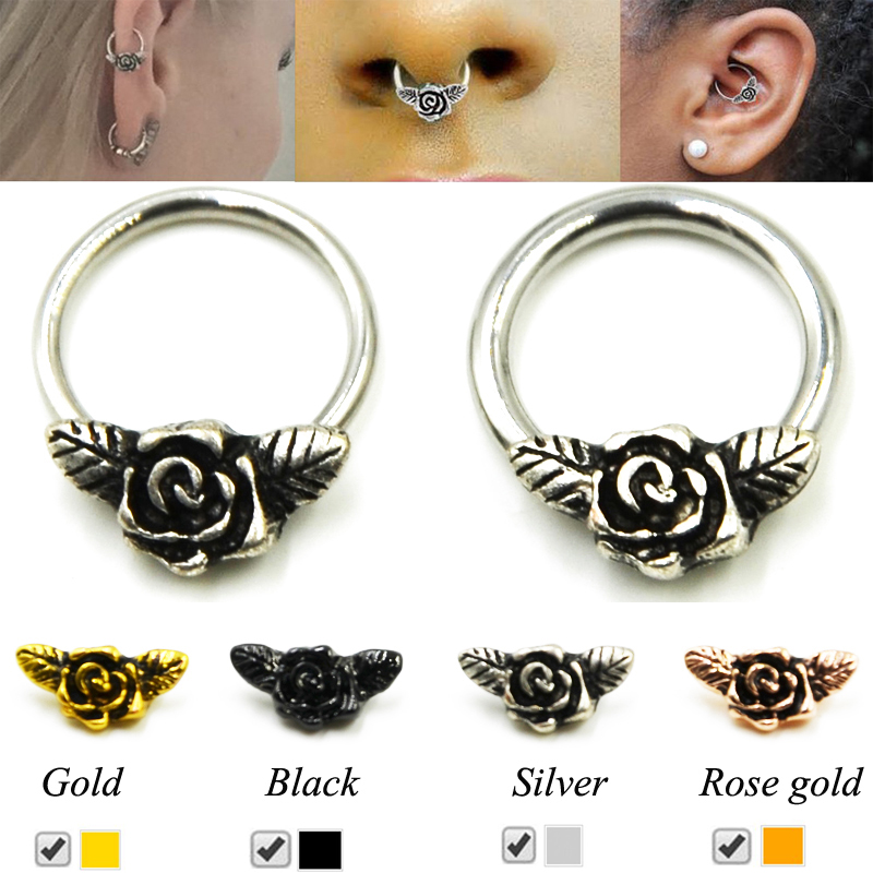 Showlove-1pcs 16g/114G Rose Flower Stepum Nose Clicker Hoop Rings Navel Lip Nipple Tragus Cartilage Ring Piercing Body Jewelry