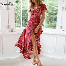 Nadafair Vintage Floral Print Boho Dress Women Split Sexy Beach Maxi Summer Vestidos Sash Lace Up Elegant Party Long