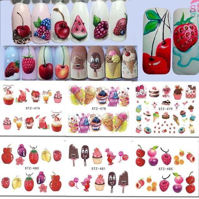 1 x Nail Art Stickers Water Decals Ice Cream/Fruit Cherry Strawberry Water Transfer Nail Sticker DIY Tattoo Decor LASTZ474-488