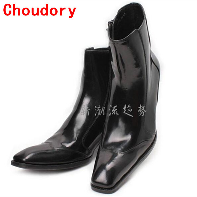 135455c5b7c Mens waterproof winter boots british style black patent genuine leather  military boots high heels zipper dress boots punk