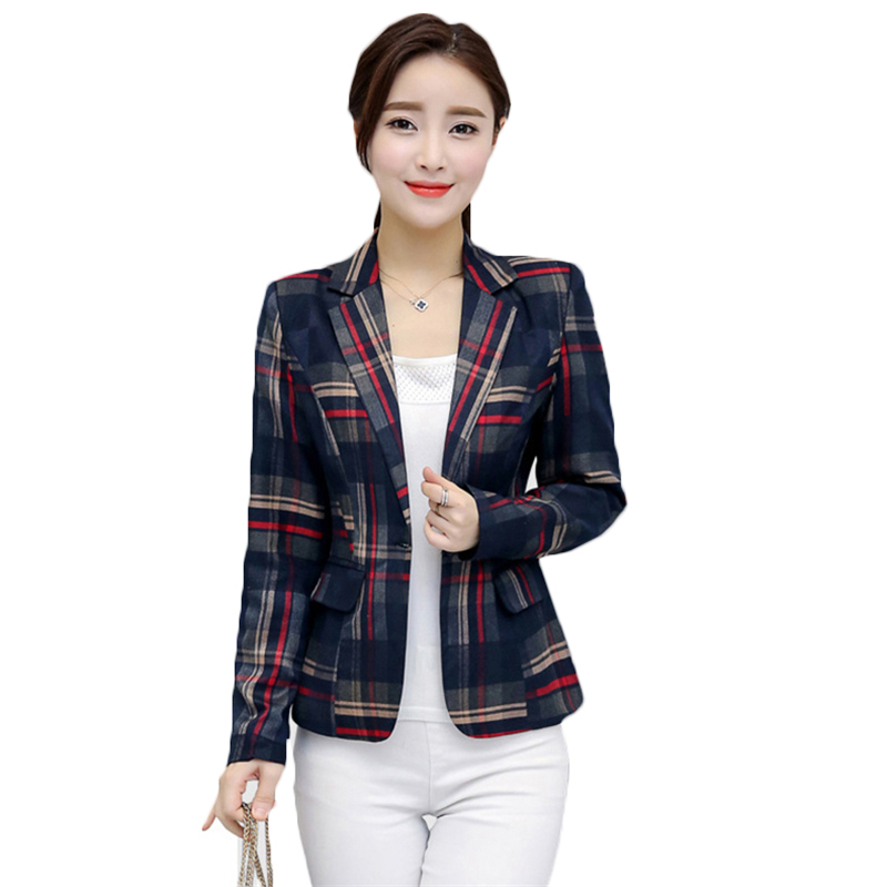 2018 Spring Autumn Plus Size Vintage Suit Jacket Elegant Formal Casual Coat Womenu0026#39;s Plaid ...
