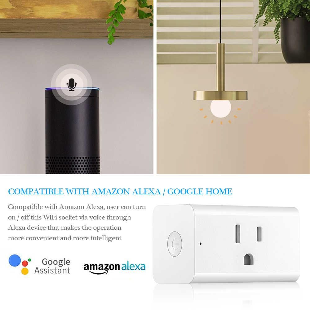 1/2/3 pc inteligentne gniazdo zdalnego sterowania gniazdo zasilania z Wi-Fi 15A 1800 W o dużej mocy do z Alexa Google domu dla androida iOS Smartphone