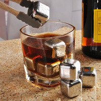 8pc Set Stainless Steel Whisky Wine Ice Cube Creative Wine Cooler With Clip Beer Ice Coffee
