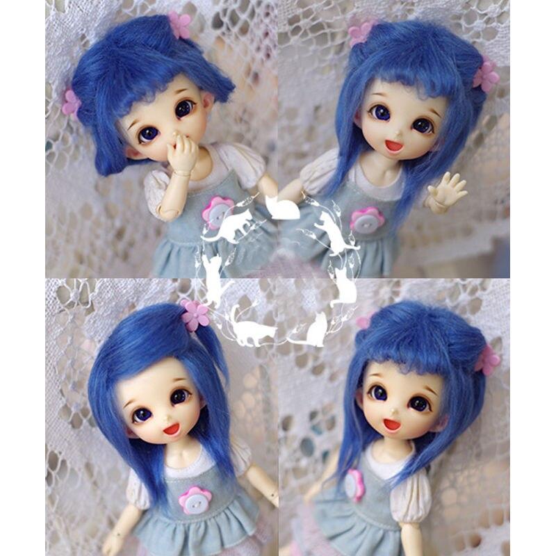 Синий средней длины шерсть парик/волос 1/8 pukifee AE LATI BJD Dollfie 14 см/5.5
