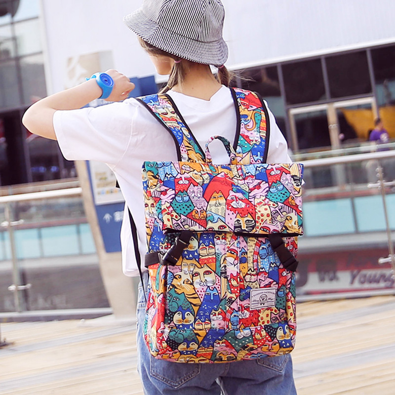 Personality Anime Cat Chest Shoulder Bag Japanese and Korean version of large capacity travel backpack Harajuku wind student bag oxford bag korean version of the female students shoulder bag large capacity backpack canvas backpacks