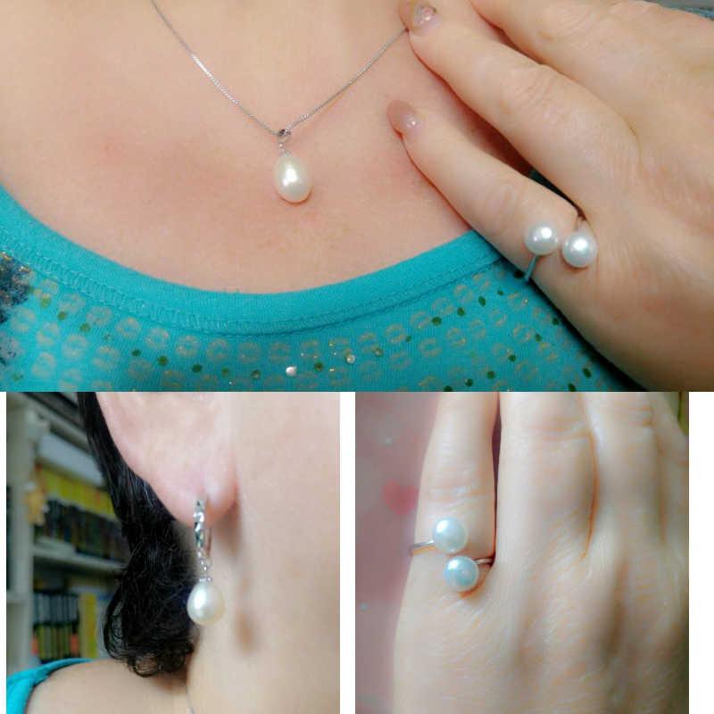 Thật cưới Đen Ngọc Trai Nước Ngọt Bộ trang sức nữ, ngọc trai tự nhiên Bộ Vòng cổ bạc 925 Bông tai quà kỷ niệm