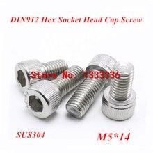 100pcs M5*14 Hex socket head cap screw, DIN912 304 stainless steel Hexagon Allen cylinder bolt, cup screws(China (Mainland))