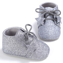 5 Colors PU leather Prewalkers Boots Handmade Soft Bottom Fashion Stars Shining Baby Lace-up Babies Shoes