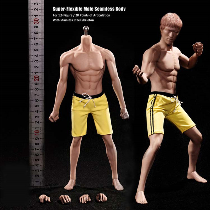 Mnotht 1/6 Solider Male Body Model PL2016-M32 BRUCE LEE Seamless Muscular Male Figure Steel Skeleton For 12in Action Figure L30