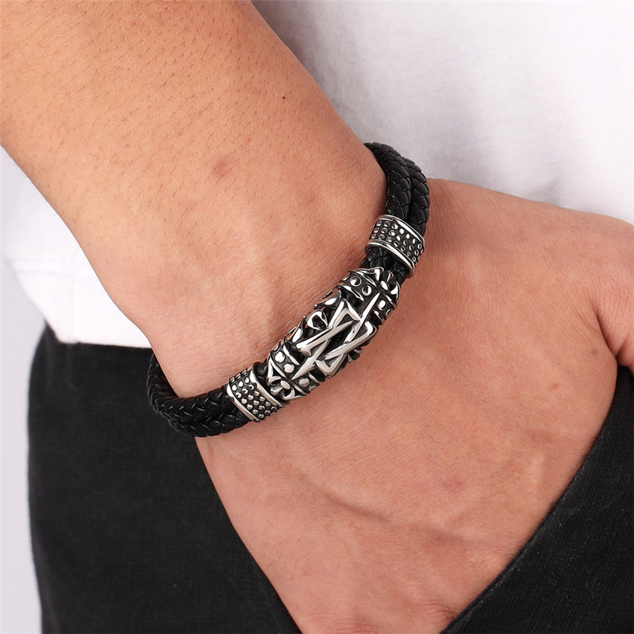 XQNI Punk Style Ancient Architecture Totem Elegant Small Adorn Article Genuine Leather Bracelet Double Layer Hand Jewelry Gift 2