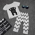 2017 Весна лето мода детская одежда наборы маленький монстр одежда наборы футболка + брюки костюм 0-2 лет baby boy/девушка одежда