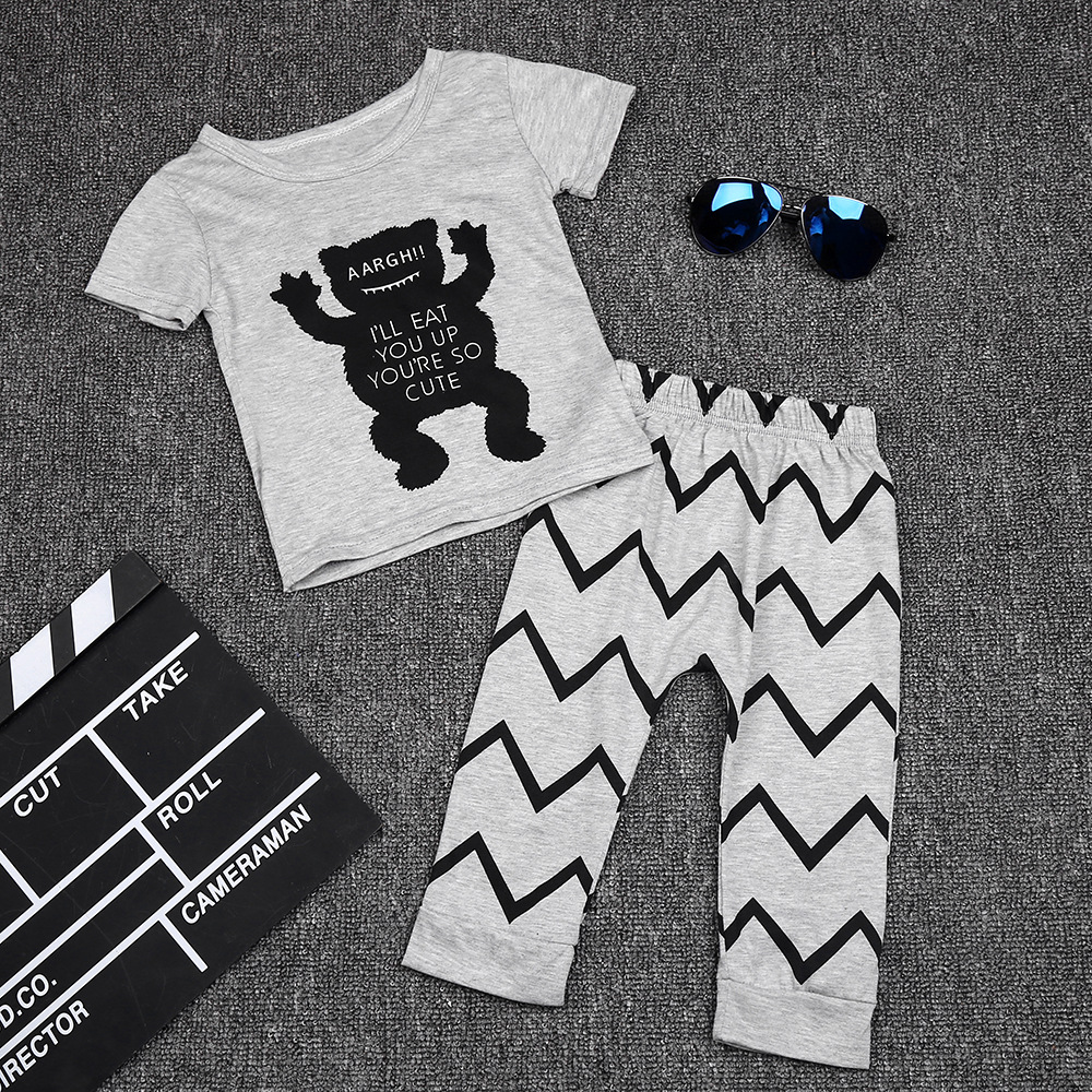 2017 Spring summer fashion baby clothes sets small monster clothing sets T-shirt + pants suit 0-2 years baby boy / girl clothes