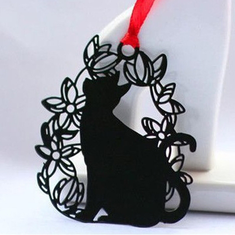 9sets 5.6x6.8cm 9Patterns Lovely and Creative Black Cat Series Iron Bookmark Cat Figurines Miniatures with Card and Envelope