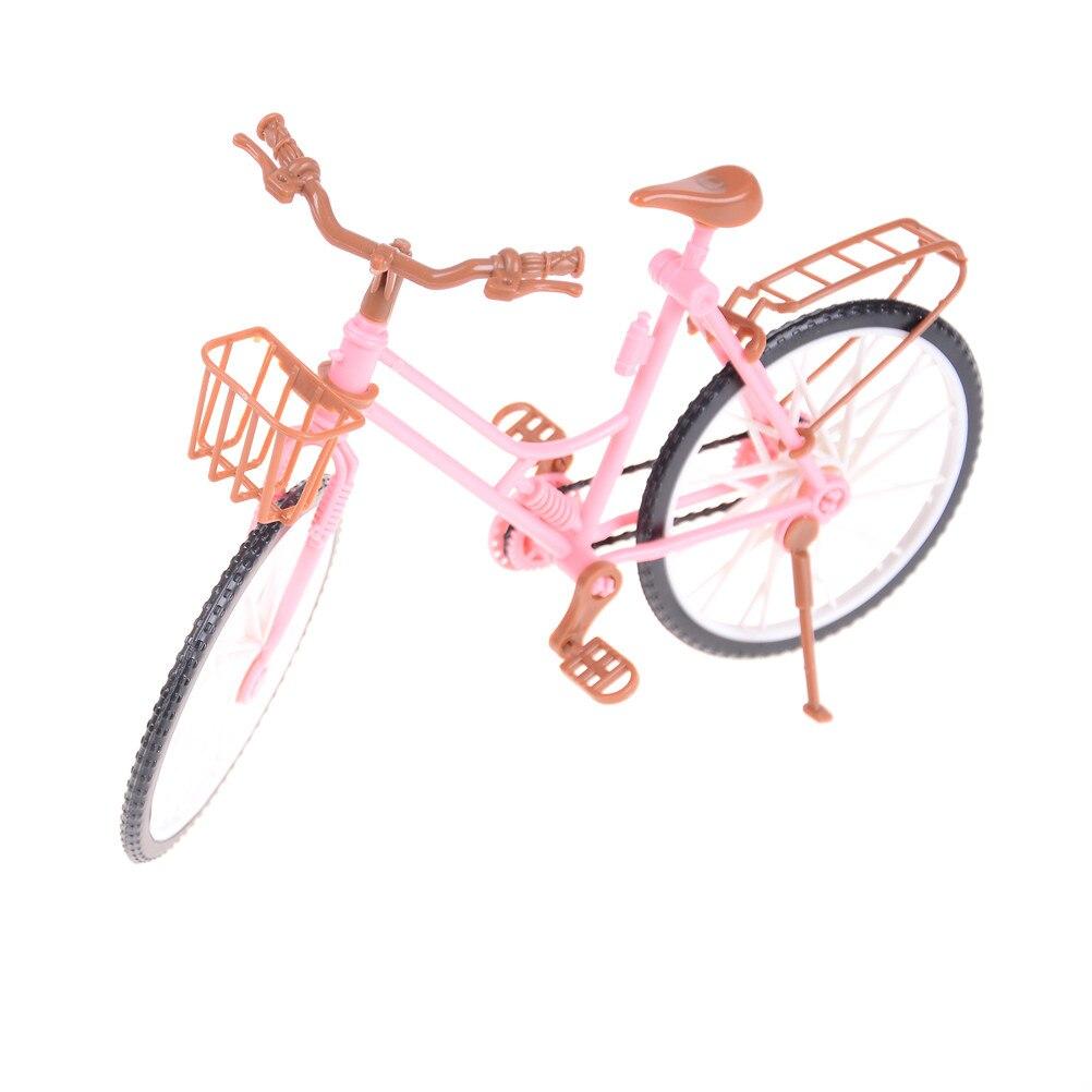 Doll Accessories Bicycle Detachable Pink Bike with Brown Helmet