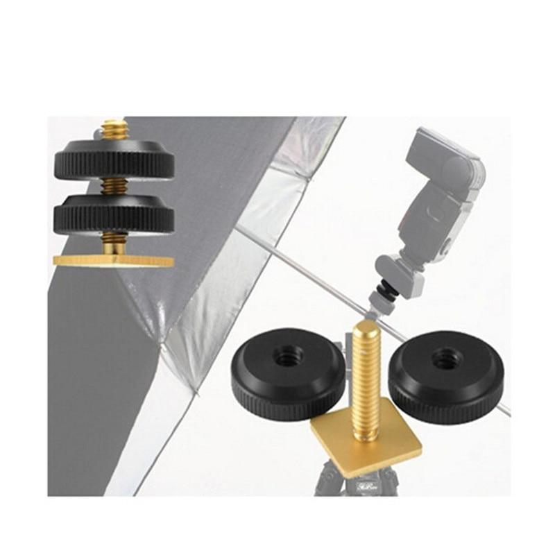 Double Nuts 14 38 58 Tripod Screw to Flash Hot Shoe Mount Adapter Converter Hot Shoe Adapter For DSLR SLR Hotshoe Studio Accessories Screw1