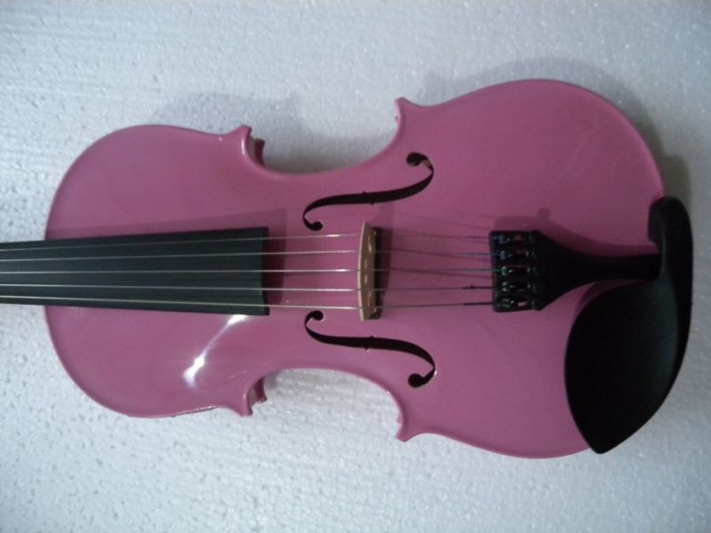 5 String 4/4 3/4 New Electric Acoustic Violin Pink #1 4 4 high quality 5 string electric violin yellow 2 pickup violin
