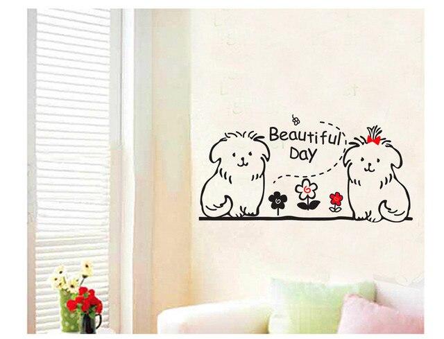 Cute Dog Animal Kids Wall Decals Quotes Princess Love Retro Art Adhesive Mirror Sticker Diy Bedroom
