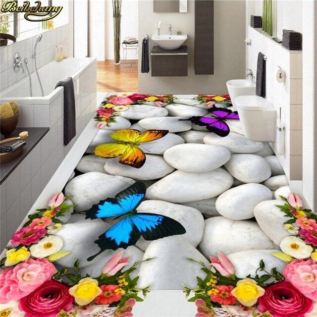 beibehang personnalis photo papier peint peinture murale 3d rose papillon galets au sol. Black Bedroom Furniture Sets. Home Design Ideas