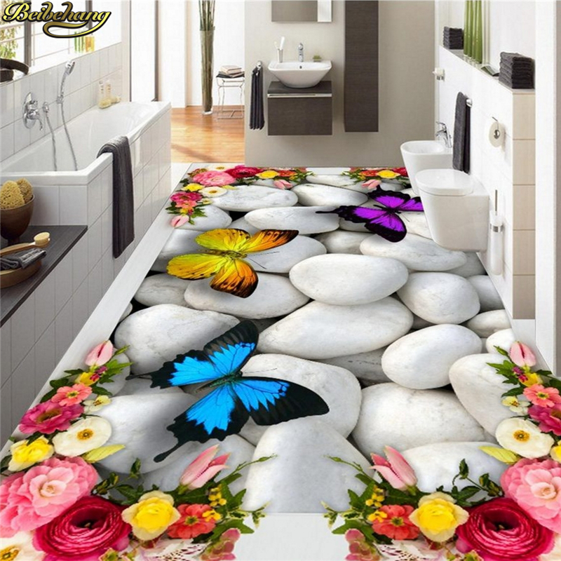 beibehang Custom Photo Wallpaper Mural Painting 3D Rose Butterfly Pebble Floor Thickened wear-resistant self-adhesive 3D Floor