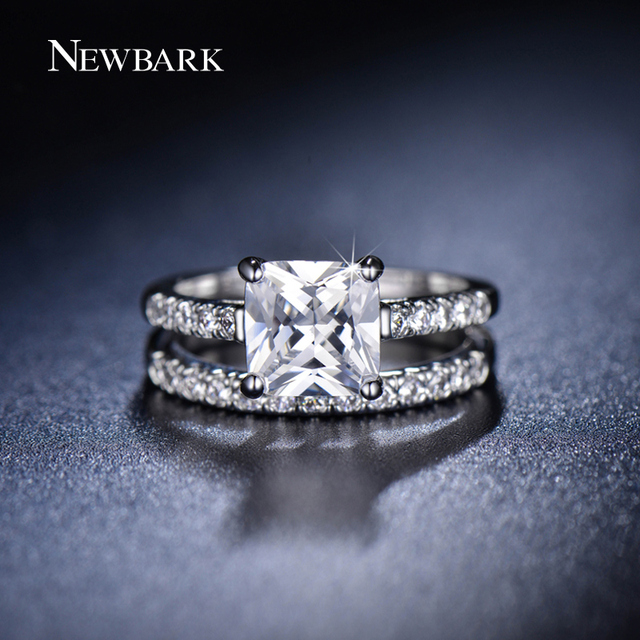 NEWBARK Two Band Couple Rings Princess Cut Zirconia Jewelry Engagement Ring Set For Women