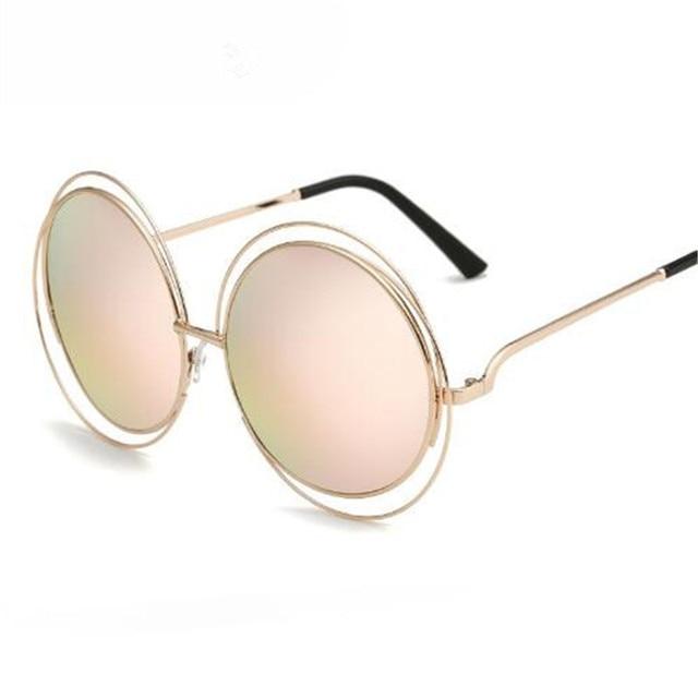 a94a8df2da6e New Vintage Round Big Oversized Lens Mirror Brand Designer Sunglasses Lady  Cool UV400 Women Sun Glasses lunette de soleil femme