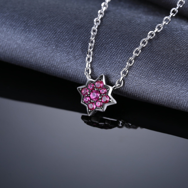 0.2ct Created Ruby Flowers Necklace With Chain 3