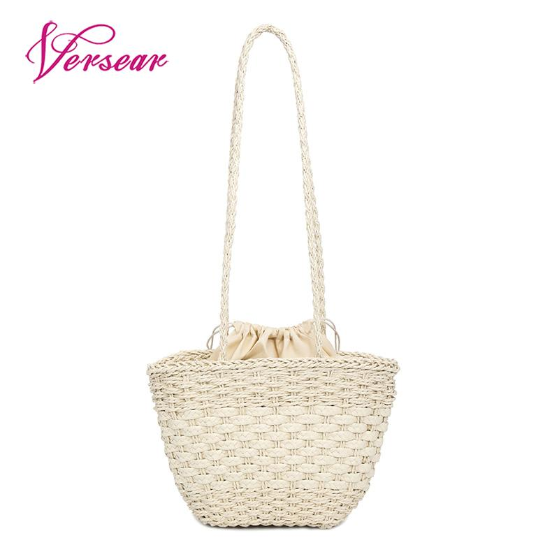 Versear Womens Handmade Straw Bag Bohemia Woven Rattan Bags Summer Vacation Beach Bag Vintage Drawstring Lining