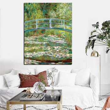 Bridge Over a Pond of Water Lilies by Claude Monet Printed on Canvas 1