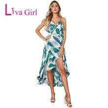 LIVA GIRL Bohemian Floral Print Beach Dress Women Tropical Sexy Spaghetti Strap V Neck Ruffles Lace Up Midi Dress Tunic Draped все цены