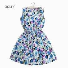 2017 Summer Women dress New Brand Casual Print Sleeveless Chiffon stripe floral print Elastic Waist Bohemian Beach Dresses