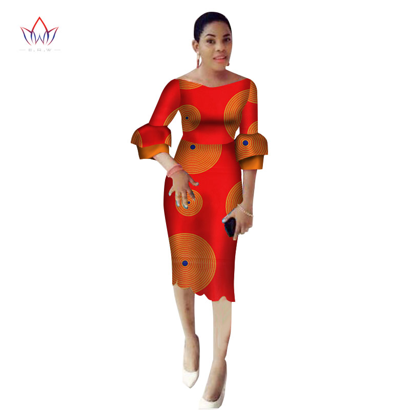 2019 automne robes africaines pour les femmes ankara partie gaine robe africaine sexy slash cou maxi couture Batik vêtements BRW WY2274