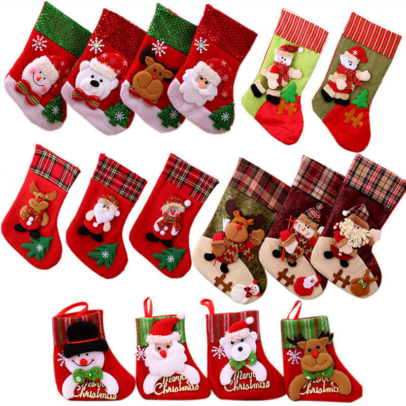 Christmas Socks Decorations for Home Christmas Stockings kids Gifts christmas Tree New Year xmas Santa Socks 2018 Small Large in Stockings Gift Holders from Home Garden