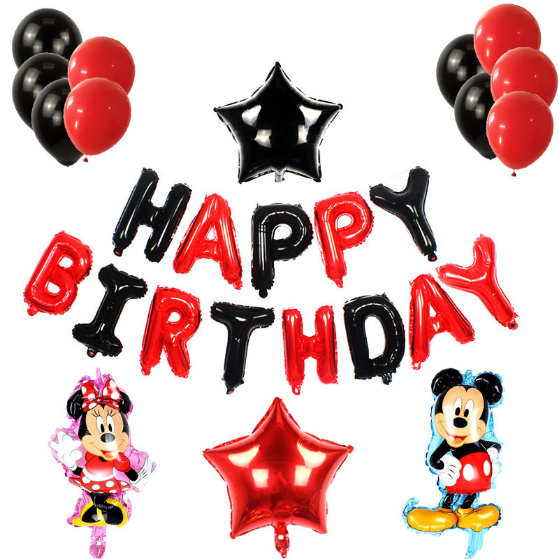 Minnie mickey birthday cake party balloons decorations adult 18 birthday party decorations red black letter mickey latex balloon in Ballons Accessories from Home Garden