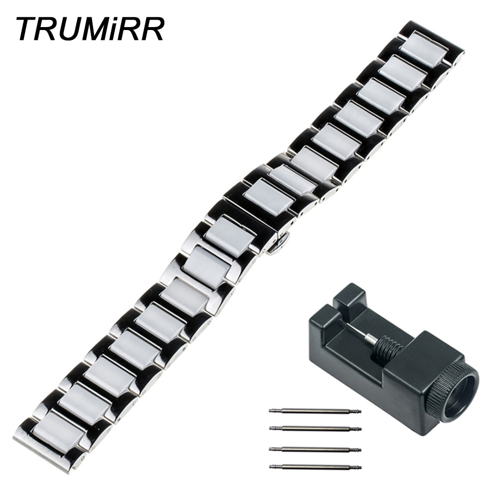 18mm 20mm 22mm Ceramic Watch Band + Upgraded Link Remover Universal Strap Butterfly Buckle Belt Bracelet Black Rose Gold Silver ceramic watch band 18mm 20mm 22mm for cartier butterfly buckle strap wrist belt bracelet black white silver spring bar tool