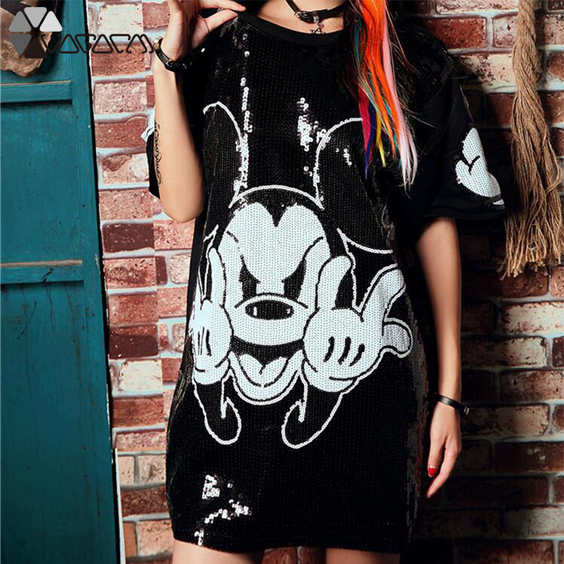 Women Summer Plus Size Dress Short Sleeve Streetwear Casual Loose O-Neck Minnie Mickey Mouse Sequin Party Club Mini Dresses 16