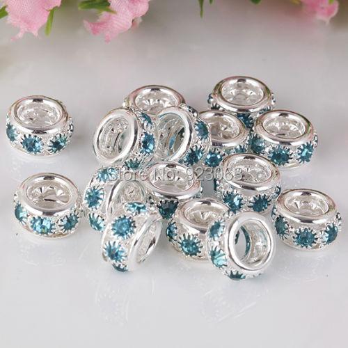 f556e520fae 50 pçs lote Lt. Azul Strass Prata Spacer Beads Europeus Para DIY Pulseiras  Jóias