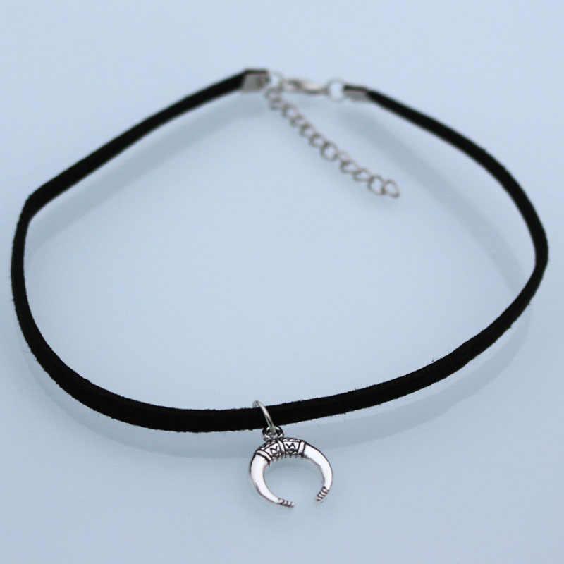 1 sztuk Crescent księżyc geometryczny aksamitny zamsz Chokers naszyjniki dla kobiet mężczyzn naszyjnik Collares biżuteria Bijoux