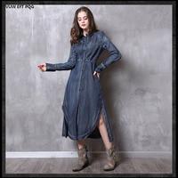 Vintage Denim Dress New shirt denim Vintage long sleeve irregular dress Jean Dresses with Belt Vestidos