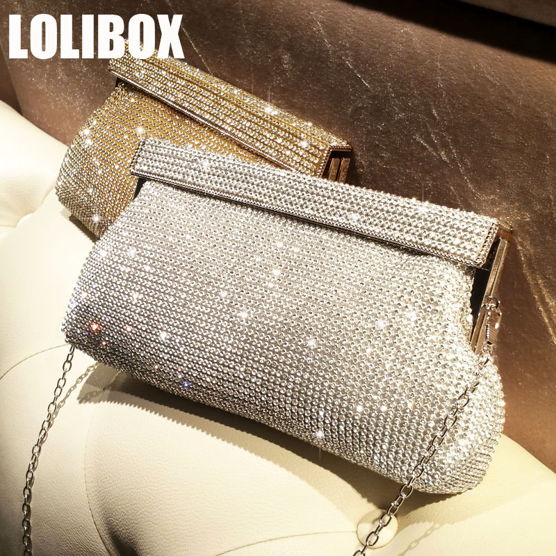 LOLIBOX Ladies Evening Bags Rhinestone Large Capacity Handbag Dinner Bag Chain Slant Luxury Banquet Day Clutch Party DressLOLIBOX Ladies Evening Bags Rhinestone Large Capacity Handbag Dinner Bag Chain Slant Luxury Banquet Day Clutch Party Dress