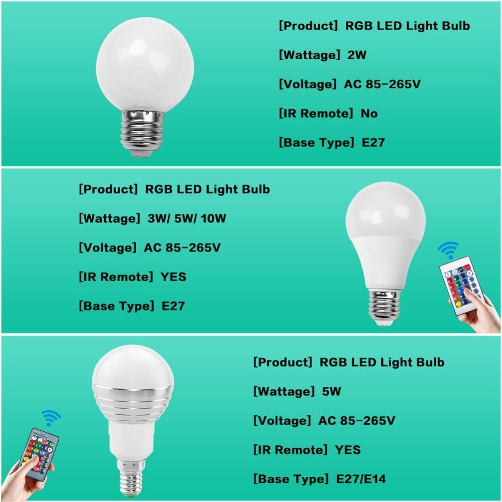 Е27 Е14 светодиодные лампы RGB на