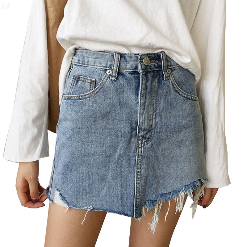 2017 Mini Size Summer Pencil Skirt High Waist Washed Women Skirts Irregular Edges Denim Skirts All Match Womens Skirt