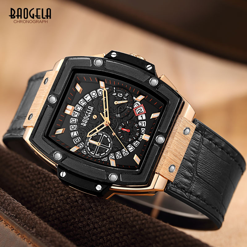 Baogela Men's Sports Leather Strap Chronograph Quartz Watches Fashion Army Rectangle Analogue Wristwatch For Man 1703Rose