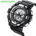 SANDA Fashion Watch Mens Sports Watches Waterproof Digital LED Military Men Analog Quartz Digital Wristwatches relogio masculino